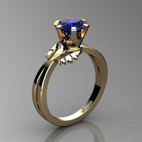 Swan 14K Yellow Gold 1.0 Ct Blue Sapphire Fairy Engagement Ring R1030-14KYGBS