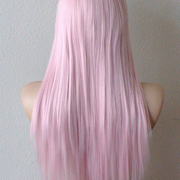 Pink wig. Pastel light pink hair Long straight hairstyle wig for daytime use or Cosplay.