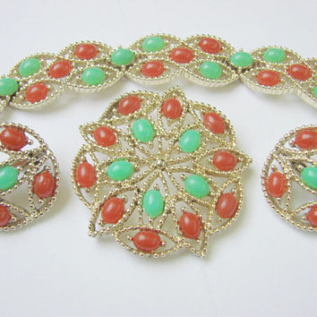 Vintage 1960s Sarah Coventry Acapulco Parure / Bracelet / Brooch / Earrings / Faux Carnelian / Faux Jade / Jewelry / Jewellery