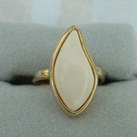 CELEBRITY NY White Curved Cabochon Ring Adjustable Vintage Jewelry
