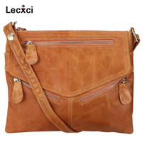 Lecxci Women's Soft Genuine Leather Cross body Handbags, Zipper Travel Crossbody Bags Purses leather bags for Women