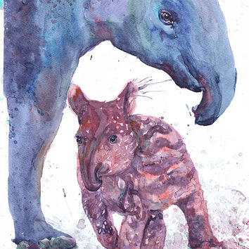 Watercolor tapir with baby , painting ,child wall art , wall decor, boy nursery art, art print, nursery decor, children art, Illustration