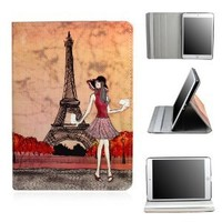 Lerway PU Leather Case Smart Cover Stand Paris Fashion Girl for Apple iPad Mini 7.9 ''Tablet
