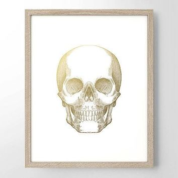 Human Skull Gold Foil Art Print   Vintage Engraving   Minimalist Art   Home Office Bathroom Decor  Housewarming Gift   Medical Human Anatomy