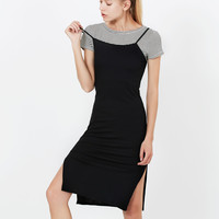 Stretchy Ribbed Short Sleeve Midi Slip Dress with Side Slit