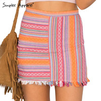 Simplee Apparel Summer 2016 Vintage striped print pencil skirt Tassel high waist mini skirts Girls red sexy bodycon women skirt