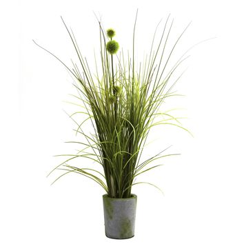 Artificial Plant -Grass And Dandelion With Cement Planter Silk Plant