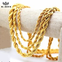 Men's Gold Plated Rope Chain Necklace in 3 Different Thicknesses