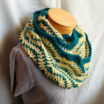 Fall cowl scarf Yellow Turquoise stripes Chevron crochet scarf mohair wool long  loop cowl wrap