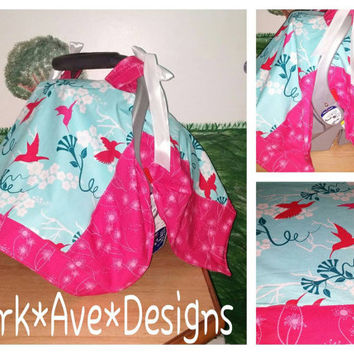 Baby Girl car seat canopy cover.Bright Hummingbirds . Pink and Teal Coupon code (Domestic USA only)  FREESHIPPING