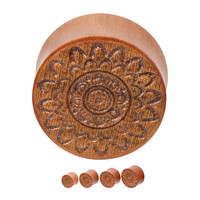 Pair of Hand Carved Mandala Cherry Wood Saddle-Fit Double Flare Plugs