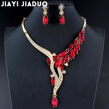 jiayijiaduo Wedding Jewelry Set Red Crystal Necklace Earrings Gift for glamor women's accessories ping Gold color dating
