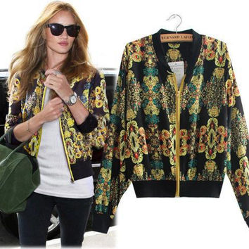 Vintage Print Long Sleeve Zippers Jacket [6331523716]