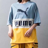 PUMA Summer Popular Women Men Casual Stitching Color T-Shirt Top Blue&Yellow