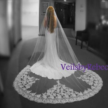1 tier cathedral sequins lace veil, sequins lace cathedral veil, cathedral beading lace veil, lace cathedral veil,lace wedding veil V620