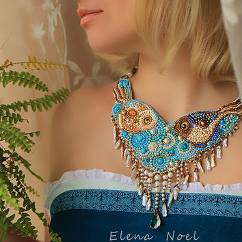 pearl necklace with two  little fishes - embroidered beaded necklace - Necklace Bead Embroidery Art
