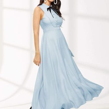 Buttoned Pleated Bow Front Fit & Flare Dress