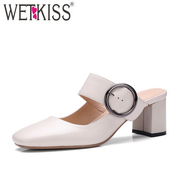 WETKISS Fashion Wide Buckle Strap Mary Jane Pumps Genuine Leather Square toe Thick High Heels Mules Shoes Woman Summer Footwear