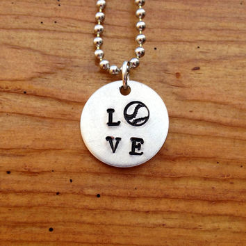 LOVE Softball Love Baseball Necklace  Hand by KennabelleDesigns