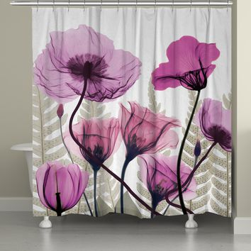 X-Ray Fuchsia Floral Shower Curtain