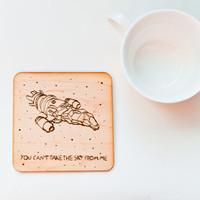 Woodburned Firefly Coaster - Serenity Eco Friendly Coaster - Geek Spaceship Gift