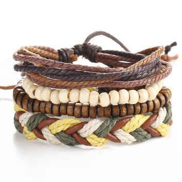 Cool Casual Men Jewelry Geometric Wood Beaded Bracelets For Women Multilayer Woven Wrap Leather Cord Bracelet Male Vintage 1Set