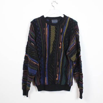 Vintage 1990s Sweater Textured Black Rainbow Multi Colored Knit Coogi Sweater Style Jumper 90s Pullover Hip Hop Oversize Knit Extra Large XL