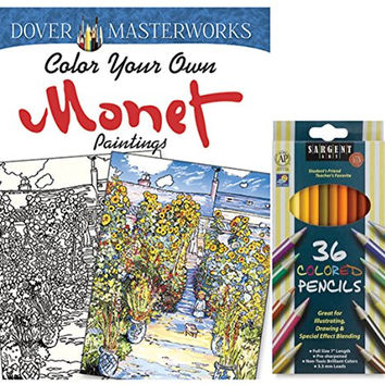 Sargent Art Colored Pencils, Set of 36, Dover Masterworks Color Your Own Monet Paintings Coloring Book with Gardens, Flowers, Boats, Ocean Scenes, Stress Relieving Landscapes to Relax and Enjoy!