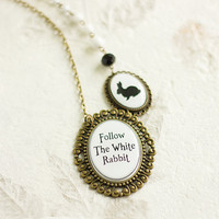 Alice in Wonderland Necklace, Follow the White Rabbit, Quote Pendant, Black and White Pendant, FREE shipping