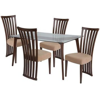Monterey 5 Piece Walnut Wood Dining Table Set with Glass Top and Dramatic Rail Back Design Wood Dining Chairs - Padded Seats
