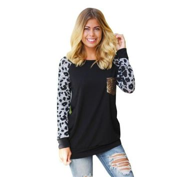 Autumn Long Sleeve T Shirts Women Leopard Printed Patchwork Pocket Casual Loose T-Shirt Tops Female Tee Shirt Women Clothing