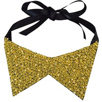 Golden Collar Statement Necklace Beaded Faux Collar with Black Ribbon Tie