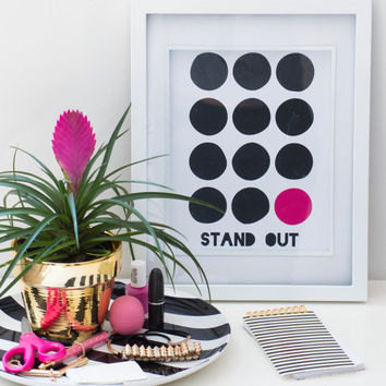 PRINTABLE Quote art // art print,bright pink, quote sign, inspiration, quote poster, fashion quote, polka dots, polka dot print, pink, dots,