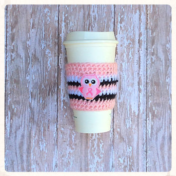 Coffee Cozy Crochet Breast Cancer Pink Bow~ Pink~ Magenta~ White~ Coozie Sleeve Tea Latte