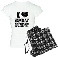 I LOVE SUNDAY FUNDAY Womens Light Pajamas