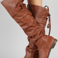 Cana-2 Slouchy Lace Back Thigh High Boot