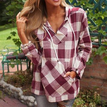VLXZGW7 Women Casual Fashion Multicolor Tartan Print Hooded Pullover Long Sleeve Shirt Tops