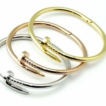 BazaarE*  Stainless Steel Nail Style Cuff Charm Bangle Mens Womens Bracelet