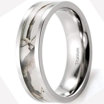CERTIFIED 6mm Women's Titanium Wedding Band with White Tree Camouflage Inlay