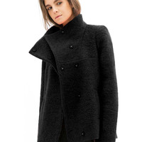 Black Wool Coat with Lapel