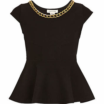 Girls black chain trim peplum top - tops - t-shirts / vests / tops - girls