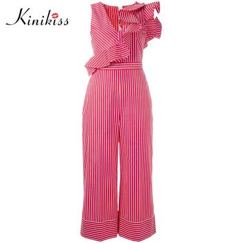 Red rompers women Jumpsuits striped straight ruffles fashion cotton loose casual women jumpsuit