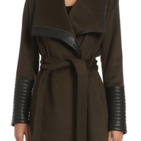 Belle Badgley Mischka 'Lorian' Faux Leather Trim Belted Asymmetrical Wool Blend Coat | Nordstrom