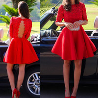 Lace Red Long Sleeves Homecoming Dresses