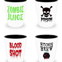 Halloween Shot Glass Set Witch Shot Glass Halloween Skull Shot Blood Shot Glass Poison Shot Glass Witches Brew Shot Zombie Juice Glass Party