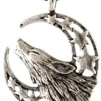 Howling Wolf Moon Pendant Necklace - Durable Pewter - Bonus adjustable black cord necklace