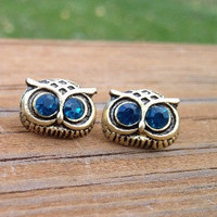 Hot sales pretty retro Silvery owl head with blue crystals eyes stud