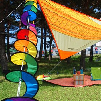 1PC Rainbow Spiral Windmill Tent Colorful Wind Spinner Garden Home Decorations beautiful interesting Foldable camping  picnic