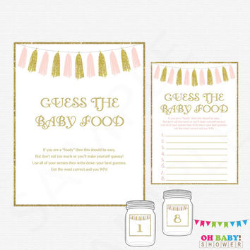 Pink and Gold Baby Shower Games, Guess the Baby Food, Baby Food Game, Girl Baby Shower Printables, Glitter Tassels, Instant Download, TASPG