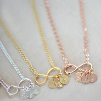 Personalized Infinity Necklace , Infinity Necklace ,  Personalized Initial Necklace, Bridesmaids Necklace, Gift , Mother's Necklace